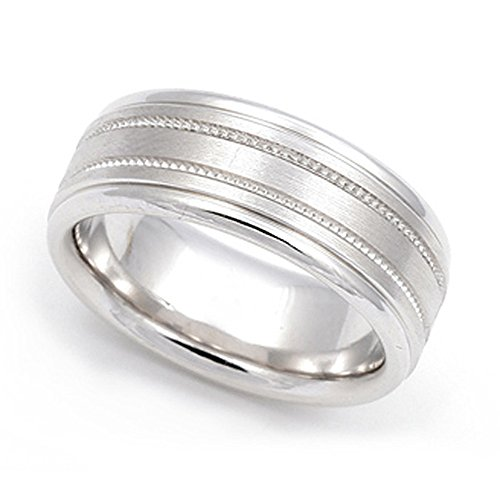 - 18k White Gold 7.5mm Milgrain Wedding Band Ring, 13.5
