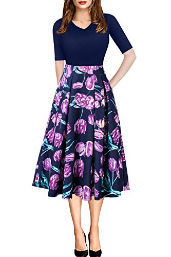 Summer Dresses for Women Vintage Swing Party Work Casual Day Church Navy Purple Plus Size 3XL