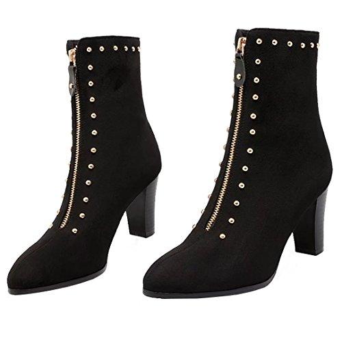 AIYOUMEI Damen Nubukleder Blockabsatz Stiefeletten mit Nieten und 8cm Absatz Herbst Winter Reißverschluss Stiefel Schwarz