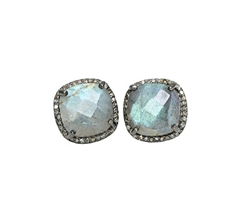 Labradorite Cushion Cut Square Pave Diamond Halo Square Stud Earrings Silver- 12mm by Nadean Designs