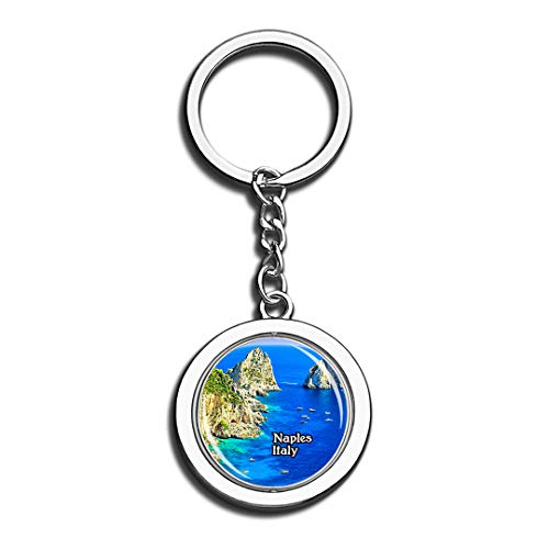 Gulf of Naples Capri Italy 3D Crystal Creative Keychain Spinning Round Stainless Steel Key Chain Ring Travel City Souvenir Collection]()