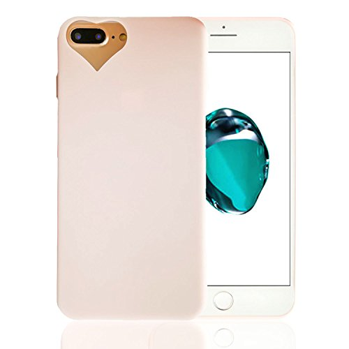 iPhone 7 Plus Case, iPhone 8 Plus Case, MuTsing Heart-shaped Camera Hole Soft SiliconeCase Cover for iPhone 7/8 Plus 5.5 Inch - Pink Hearts Camera