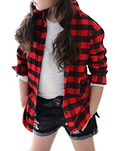 uxcell Girls Plaids Point Collar Button Down Shirt Allegra Kids Black Red 7