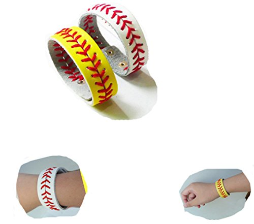 FirstFeeling Softball Wristband Stitching Seam Softball Bracelet with Press Stud-Set of 2