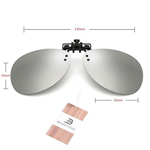 Les Conduire Clip Femmes Miroir Hommes Bozevon Polarisé Des Up Lunettes Sur Objectif Flip Argenté Ovales q8nZEnxXP