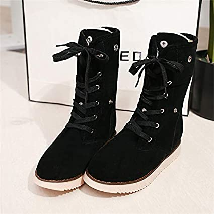 3fe73dd19 Amazon.com: Wall of Dragon Women Snow Boots Female Suede Lace-Up Mid ...