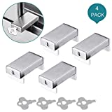 Reliancer 4 Pack Sliding Window Locks Sets with Keys Aluminum Alloy Door Frame Security Lock Stop Adjustable Safety Window Locks Security Door Stop for Home and Office Child Safety