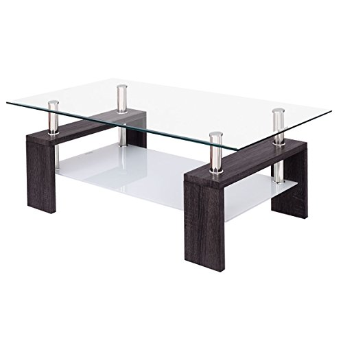 Tangkula Rectangular Glass Coffee Table Shelf Living Room Furniture (Black) (Rectangular Glass Side Table)