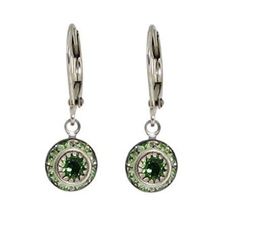 Baked Beads Earrings - Crystal Disc Dangle - Green