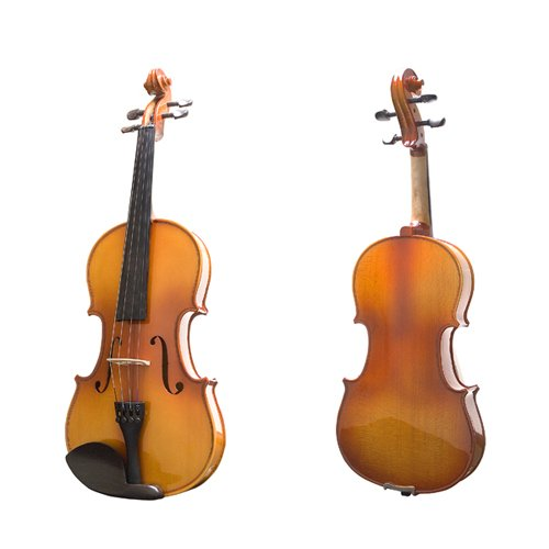 Mendini 4/4 MV400 Ebony Fitted Solid Wood Violin with Hard Case,...