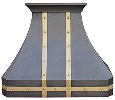 Copper Best Range Hood with High Airflow Centrifugal Blower, Includes Stainless Steel 304 Liner and Baffle Filter, High CFM Vent Motor, Wall Mount 30 / 36 / 42 / 48 inches (Custom Size - Wall)