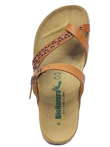 Brandy Sandalias 12 de Vacchetta mujer A Vacchetta 456 BioNatura de Etnic para vestir Piel Brandy gAXSpT
