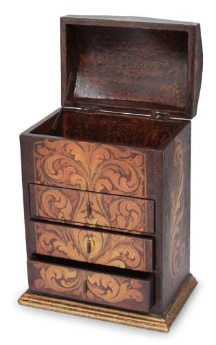 Dresser Cedar Drawer (NOVICA Floral Motif Cedar Wood Jewelry Box with Drawers and Hinged Lid, Love Blossom')