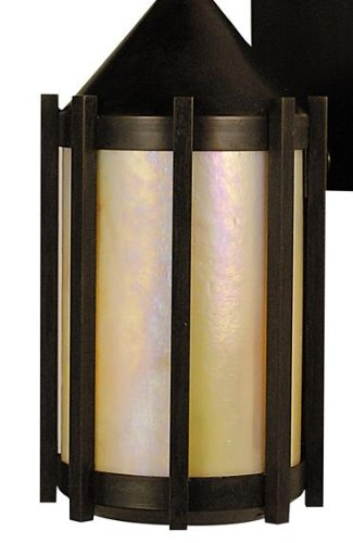 Arroyo Craftsman IP-5-RC-GW Inveraray Collection 1-Light Post Mount, Raw Copper Finish with Gold White Iridescent Glass