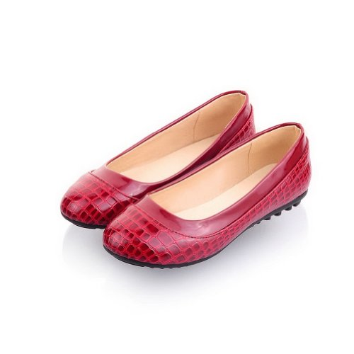 WeenFashion Women's Closed Round Toe Patent Leather Leather Leather PU Solid Flats whith Alligator Pattern, Claret, 7.5 B(M) US B00JJLPHCC Shoes 6beec4