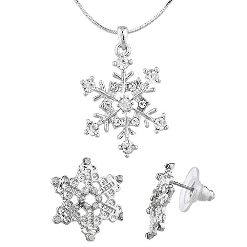 - Lux Accessories Silver Tone Christmas Holiday Snowflake Earring Necklace Set 2PC