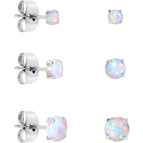 Body Candy Stainless Steel White Synthetic Opal Post Stud Earring Pack of 3