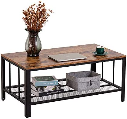 Bonnlo Vintage Coffee Table,Rustic Industrial Rectangular Coffee Table