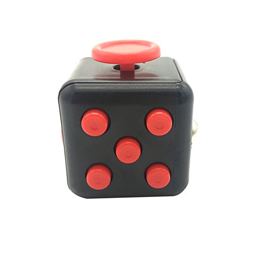 Maggift Fidget Cube Dice toy Stress Cube relieve Anxiety (Black-red)