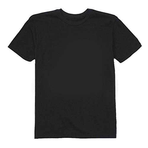 0e963fb9 Galleon - Khanomak Kids Girls Short Sleeve Solid Plain 100% Cotton Crew  Neck T-Shirts (Black_6/7Yrs)