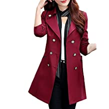 MFrannie Women Vintage Multi-Colors Casual Work Wear Trench Coat