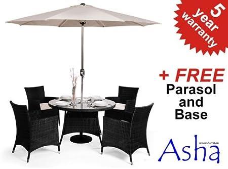 Amazon De Runder Gartentisch Mit 4 Stuhlen Und Sonnenschirm Lugo