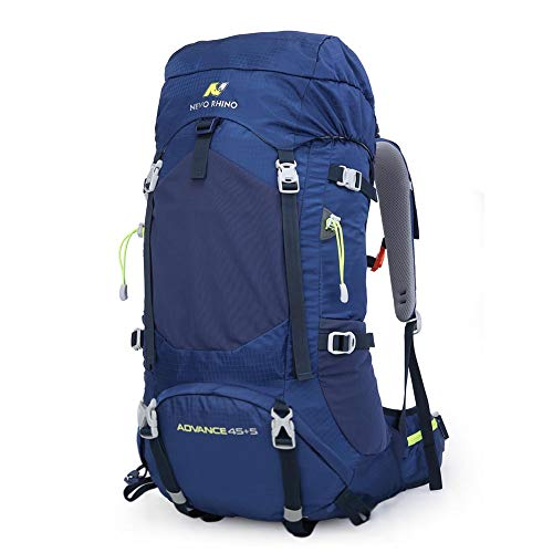 - 45L / 50L Internal Frame Backpack, Durable Nylon Climbing Sports Ultralight Daypack with Whistle Buckle, Rain Cover, High-Performance Backpack for Backpacking, Hiking, Camping, Trekking -Blue