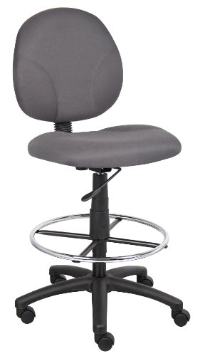 Boss Office Products B1690-GY Stand Up Fabric Drafting Stool without Arms in Grey
