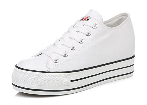Aisun Womens Height Increase Elevator Canvas Shoes Sneakers White MjREMxZo