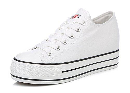 Aisun Womens Height Increase Elevator Canvas Shoes Sneakers White IrYHaZK7yG