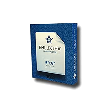 """006 """"Any Wound"""" Dressing - Box of 10 Enluxtra 6""""x6"""" Self-Adaptive Super Absorbent Dressings for Wounds with Any Exudate Level"""
