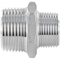Conector con boquilla doble con racor de rosca macho de acero inoxidable