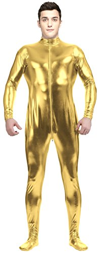 [VSVO Adult Gold Shiny Metallic Front Zipper Unitard Bodysuit Costume (Large, Gold)] (Latex Wolf Suit)