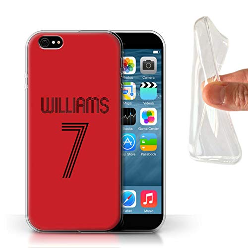 Personalized Custom Soccer Club Jersey Shirt Kit Gel/TPU Case for Apple iPhone 6 / Red Black Design/Initial/Name/Text DIY Cover