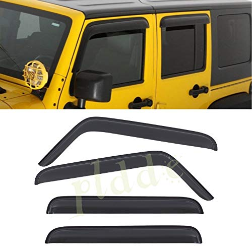 - PLDDE 4 pcs For 07-18 Jeep Wrangler JK 4-Door Front+Rear Sun/Rain Guard Outside Mount Window Visors