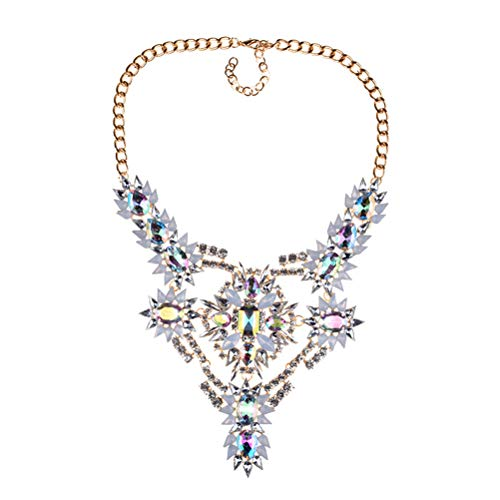 NABROJ Gorgeous Flower Floral Statement Necklace Chunky Charm Pendant with Oval Pear Crystals and White Marquise Drag Queen Jewelry for Women-HL36 Crystal ()