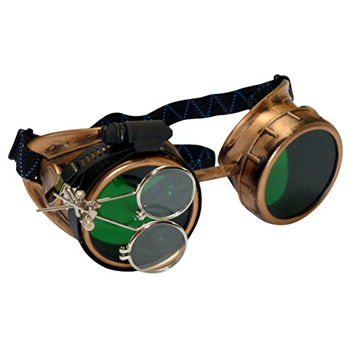 Steampunk Victorian Goggles Glasses gold green magnifying lens