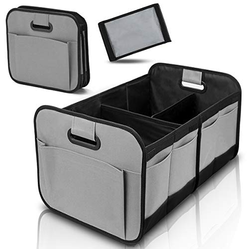 Car Trunk Organizer for SUV Truck - Auto Durable Collapsible Cargo Storage - Non Slip Bottom Strips to Prevent Sliding (Grey)