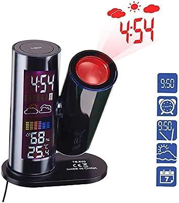 FOOSKOO Clock Despertador Digital Proyector LCD Reloj Despertador Digital Estación meteorológica Reloj de proyección Mesa de Escritorio electrónica ...