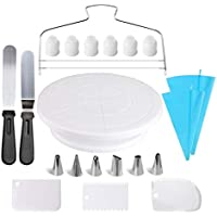 Cake Decorating Supplies,21pcs Cake Decorating Kit with Cake Rotating Turntable, Icing Spatulas,Cake Scrappers, Cake…