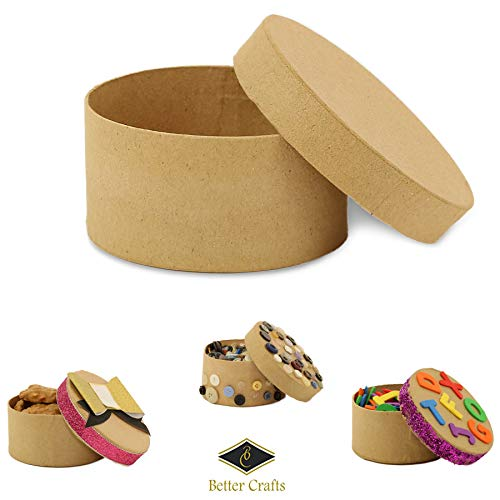Round Paper-Mache Box DIY Gift Box with Lid by Better Crafts (Pack of 6) ()