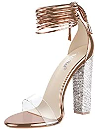 Women's Gold High Heels Sandals with Rhinestone Ankle Strappy Clear Chunky Heels Dress Party Pumps Shoes