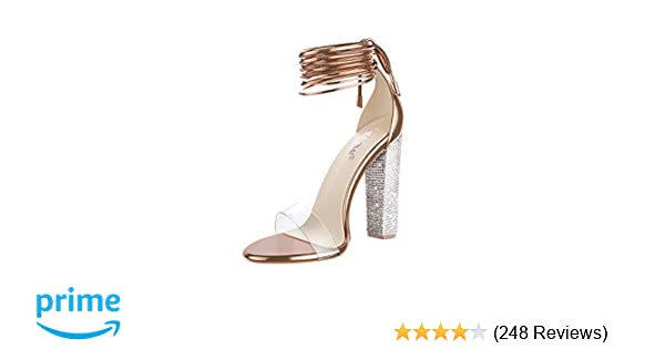 13b085eaf5e LALA IKAI Women's Gold High Heels Sandals with Rhinestone Ankle Strappy  Clear Chunky Heels Dress Party Pumps Shoes