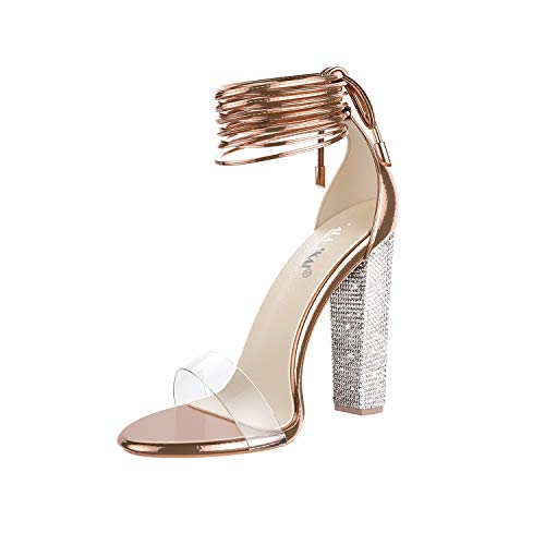 LALA IKAI Women's Gold High Heels Sandals with Rhinestone Ankle Strappy Clear Chunky Heels Dress Party Pumps Shoes Rose Gold 7.5
