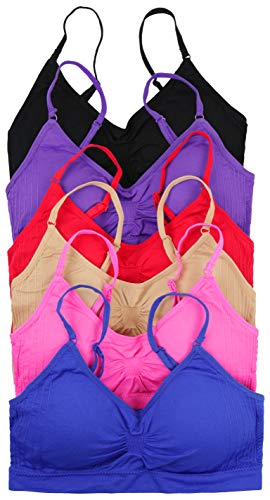- ToBeInStyle Women's Pack of 6 Solid Color Wire-Free Padded Sports Bralette - Assorted - One Size
