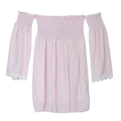 Yogogo Frauen-Druck-weg Schulter Langarm Mini Club Kleid-Strand-Kleider
