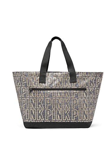 Victoria's Secret PINK Grey Marl/ Gold Metallic Logo Zippered -