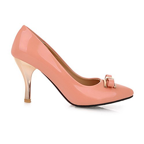 VogueZone009 Women's Pointed Closed Toe High-Heels PU Solid Pull-on Pumps-Shoes Pink OswbpQlPwH