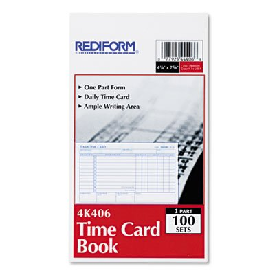 Rediform Employee Time Card, Daily, Two-Sided, 4-1/4 x 7, 100/Pad