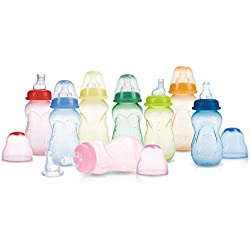Nuby 3-Pack Non-Drip Tinted Bottles, 7 Ounce, Plus 1 No-Spill Spout, Colors May Vary